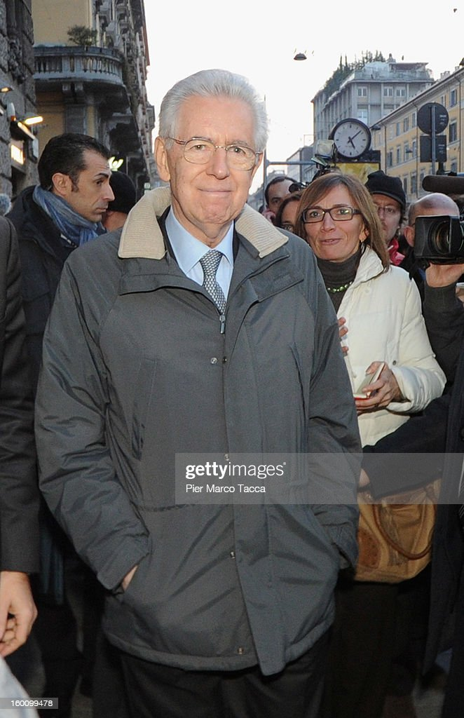 Mario Monti And Elsa Antonioli Sightings In Milan - January 26, 2013