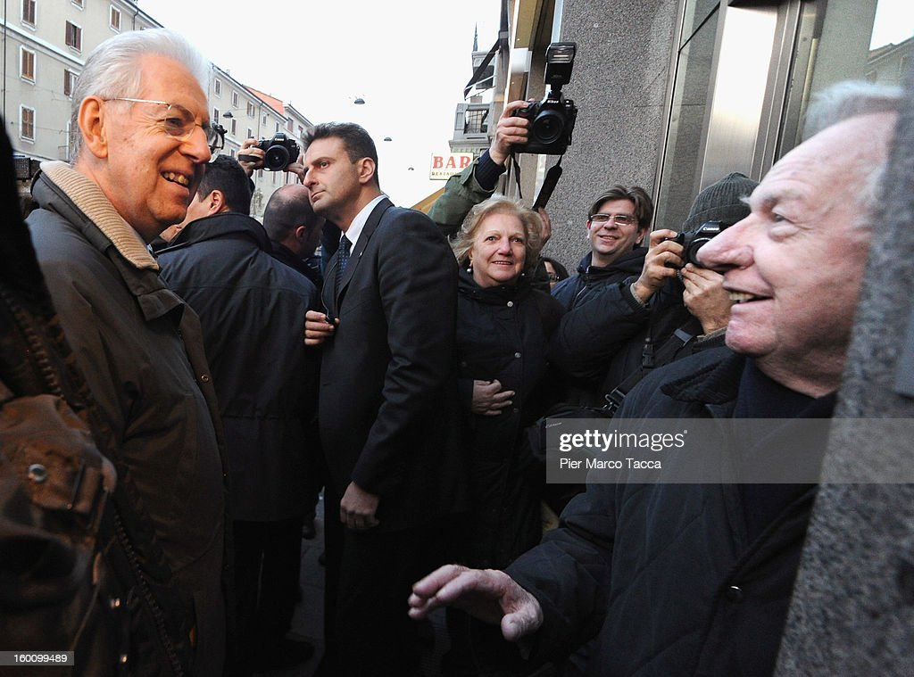 Prime Minister Mario Monti sighting in Milan on January 26, 2013 in Milan, Italy.