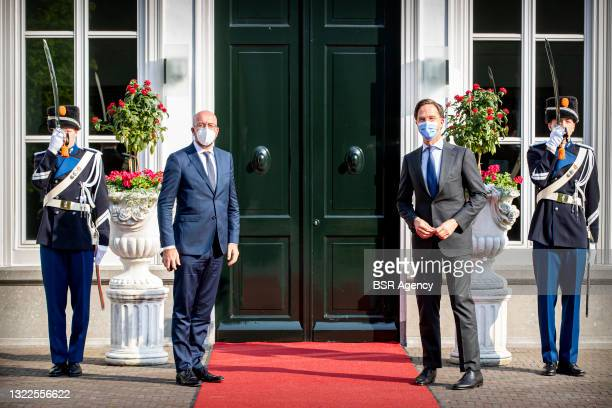 Prime minister Mark Rutte is receiving President of the European Council Charles Michel for a visit at the Catshuis on June 8, 2021 in The Hague,...
