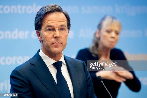 Prime minister Mark Rutte is seen during the COVID-19 press conference on January 12, 2021 in The Hague, Netherlands. During the press conference it...