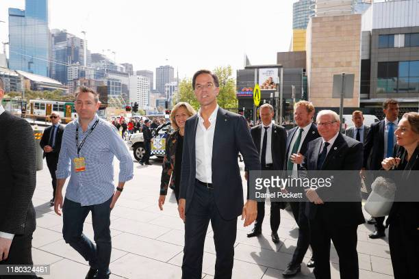 Prime Minister Mark Rutte of the Netherlands arrives at the International Games Week convention at the Melbourne Convention and Exhibition Centre on...