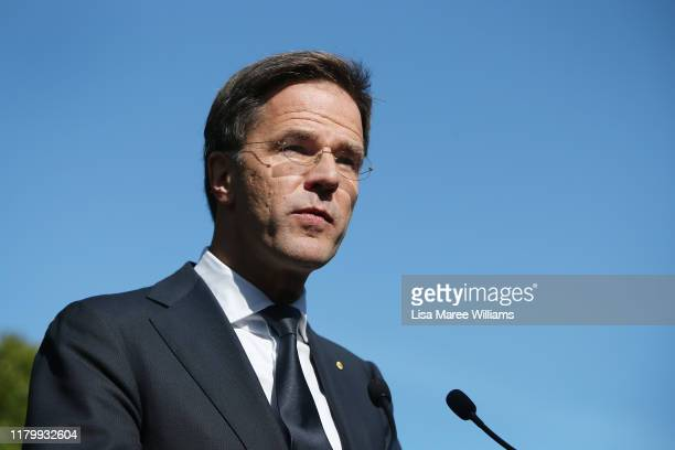 Prime Minister Mark Rutte of the Netherlands attends a press conference at Kirribilli House on October 09, 2019 in Sydney, Australia. Netherlands...