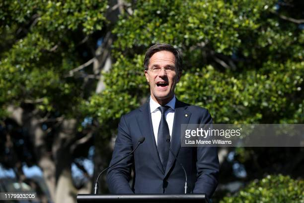 Prime Minister Mark Rutte of the Netherlands speaks during a press conference at Kirribilli House on October 09, 2019 in Sydney, Australia....