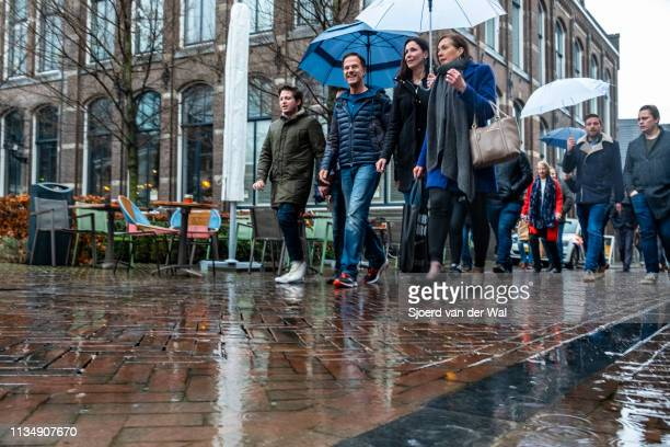 Prime Minister Mark Rutte of the VVD Liberal Party campaigning in the street for the 2019 Provincial elections on March 10 2019 in Zwolle Netherlands...