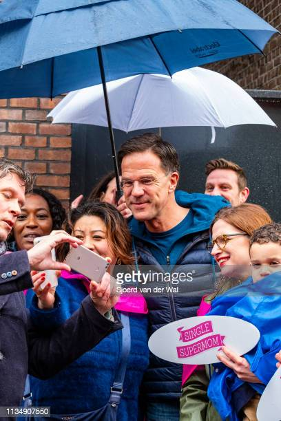Prime Minister Mark Rutte of the VVD Liberal Party poses for a photo while campaigning in the street for the 2019 Provincial elections on March 10...