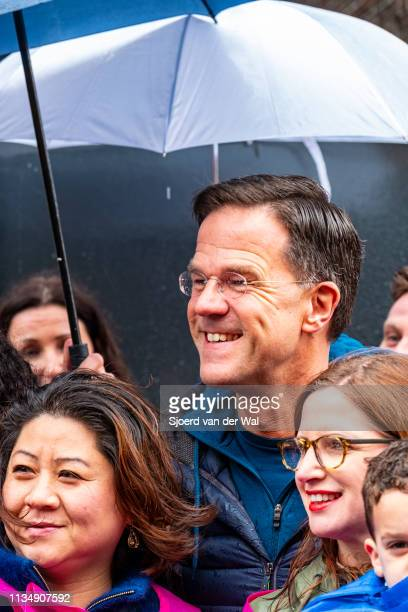 Prime Minister Mark Rutte of the VVD Liberal Party smiles while campaigning in the street for the 2019 Provincial elections on March 10 2019 in...