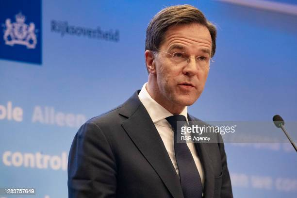 Prime minister Mark Rutte seen during a press conference on extended coronavirus measures on November 3, 2020 in The Hague, Netherlands.