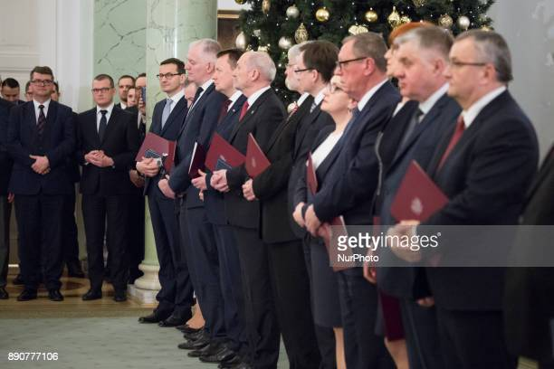 Prime Minister Mateusz Morawiecki and ministers during the new Polish Government appointment ceremony in Presidential Palace in Warsaw Poland on 11...