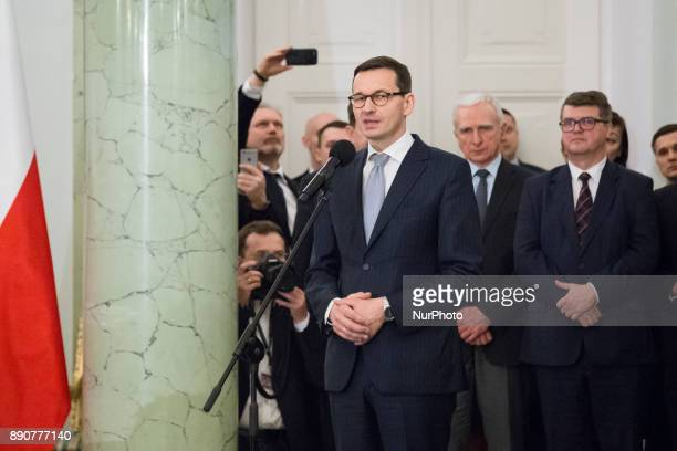Prime Minister Mateusz Morawiecki during the new Polish Government appointment ceremony in Presidential Palace in Warsaw Poland on 11 December 2017