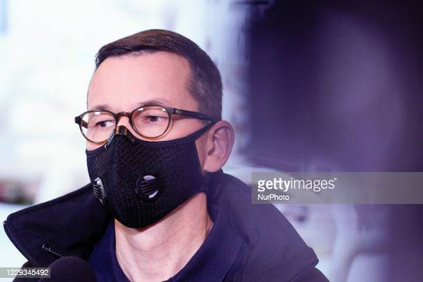 Prime Minister Mateusz Morawiecki is seen during a press conference at the temporary field hospital in the National Stadium in Warsaw, Poland on...