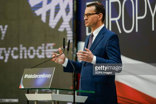 TECHNOLOGY GDANSK POMERANIA POLAND Prime Minister Mateusz Morawiecki seen speaking during the Law and Justice convention