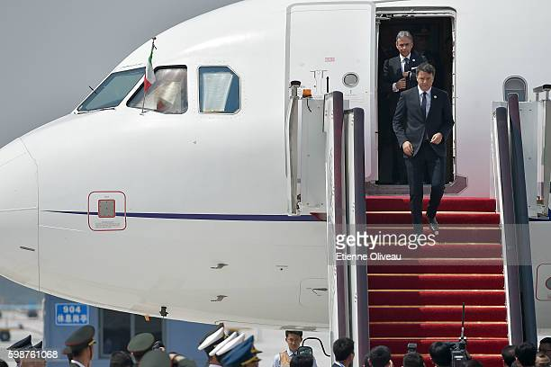 Prime Minister Matteo Renzi of Italy arrive in Hangzhou to attend to G20 Hangzhou Summit on September 3 2016 in Hangzhou China