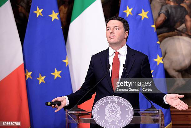 Prime Minister Matteo Renzi speaks during the Budget Law Press Conference on November 28 2016 in Rome Italy