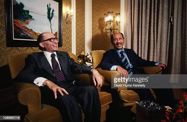 Prime Minister Menachem Begin meets with Egyptian president Anwar al Sadat at the King David Hotel in Jerusalem during Sadat's visit to Israel...