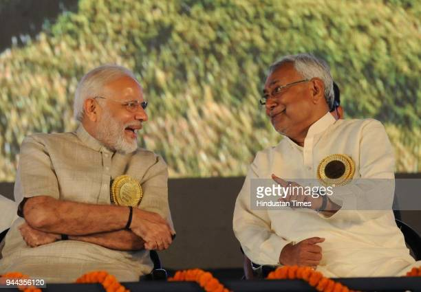 Prime Minister Modi with Chief Minsiter Nitish Kumar at an event ' Satyagrah Se Swachhagrah ' during the concluding ceremony of Champaran Satyagrah...