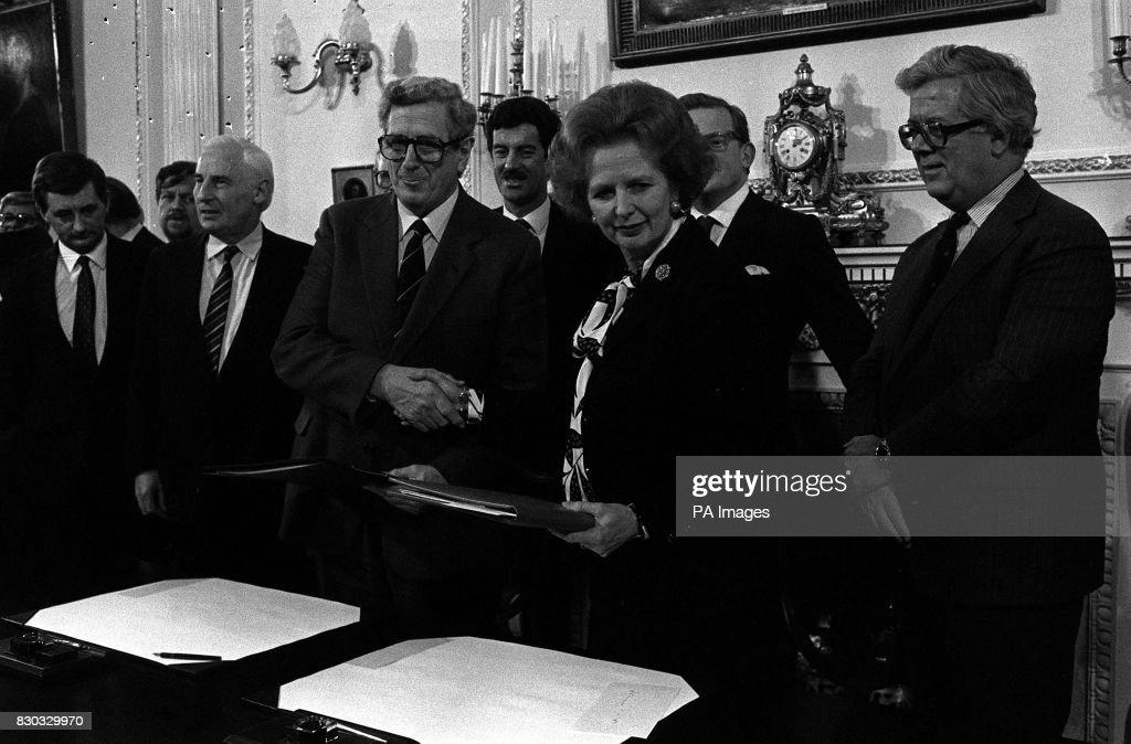 Prime Minister Mrs Margaret Thatcher And Irish Premier Dr Garret