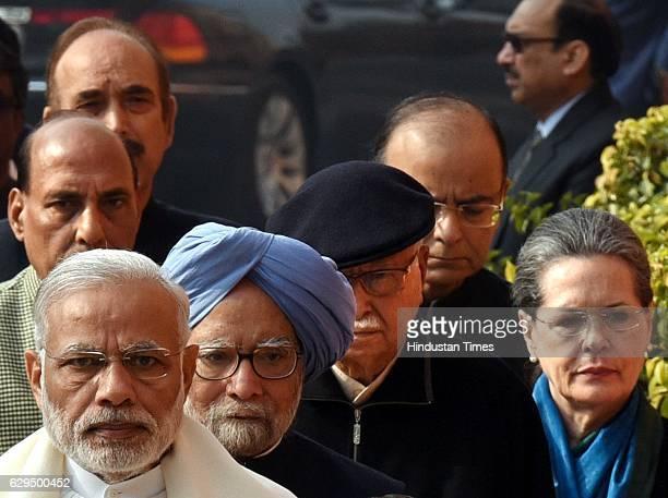 Prime Minister Narender Modi former Prime Minister Manmohan Singh Sr BJP leader Lal Krishna Advani UPA Chairperson Sonia Gandhi and Union Home...