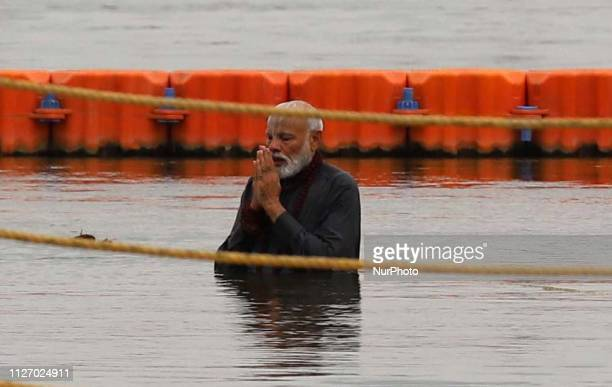 Prime Minister Narendra Damodardas Modi takes holy dip in river water of Ganges during the ongoing Kumbh mela festival at Sangam,in Allahabad on...