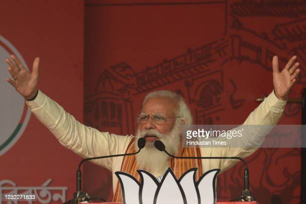 Prime Minister Narendra Modi addresses a public rally for West Bengal Assembly Election at Barasat on April 12, 2021 in North 24 Parganas, India.