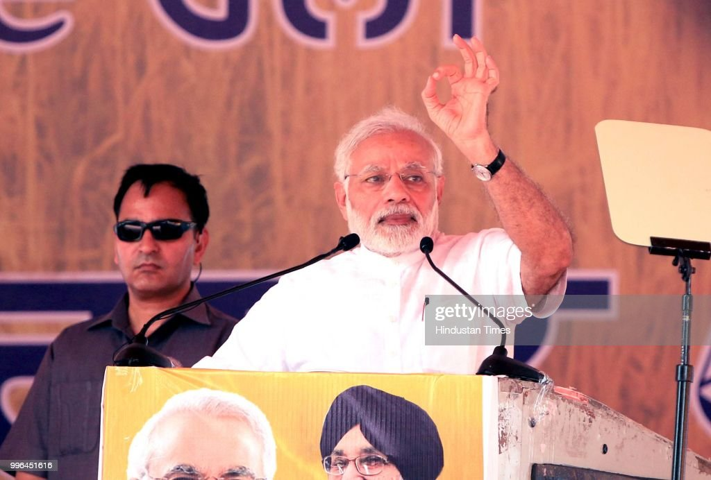 Prime Minister Narendra Modi addresses a 'thanksgiving' rally of farmers at Malout in Muktsar on July 11 2018 near Bhatinda India Organised jo