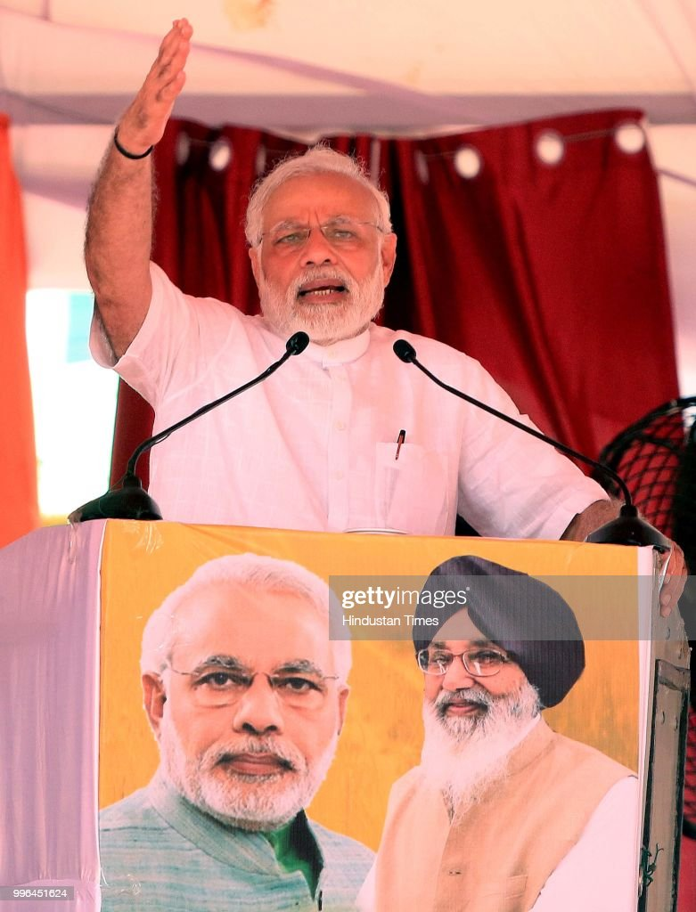 Prime Minister Narendra Modi addresses a `thanksgiving` rally of farmers at Malout in Muktsar on July 11 2018 near Bhatinda India Organised jointly...