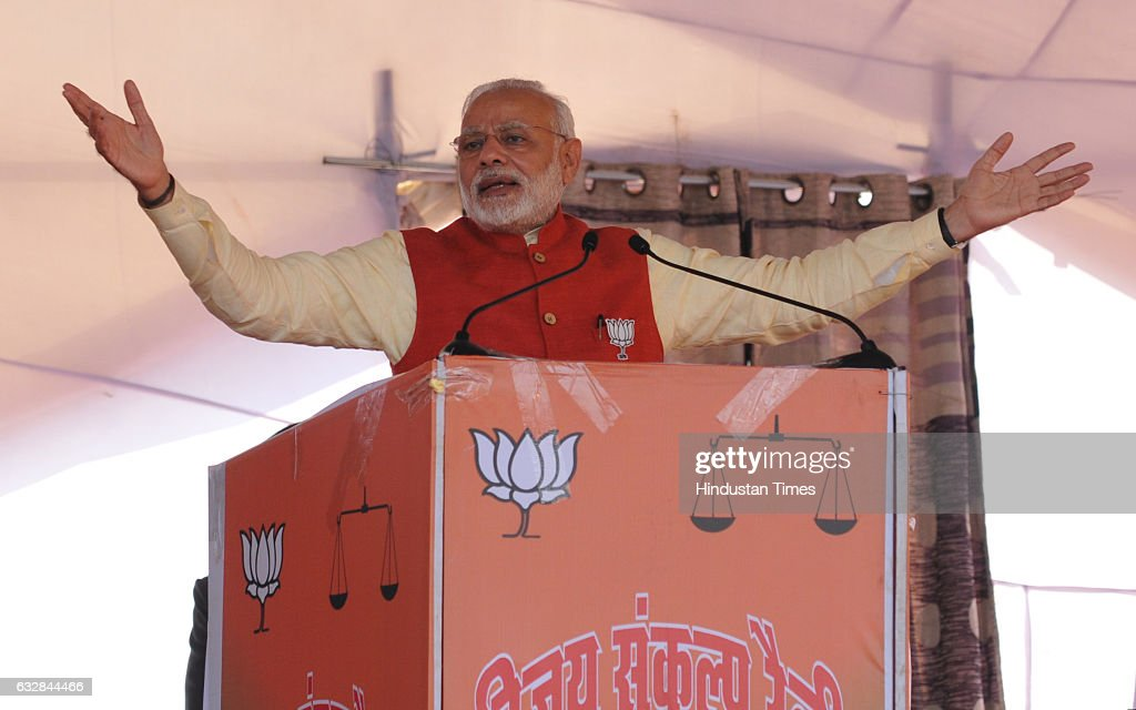 Prime Minister Narendra Modi addresses during a political rally ahead of assembly elections to muster support for ruling Shiromani Akali DalBharatiya.