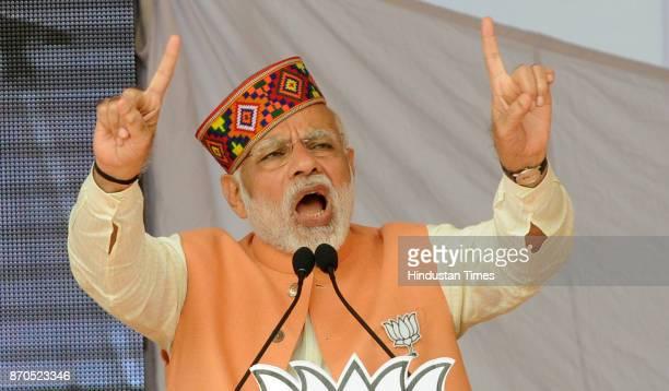 Prime Minister Narendra Modi addresses during an election rally for Himachal Pradesh Vidhan Sabha Election on November 5 2017 in Una India Modi...