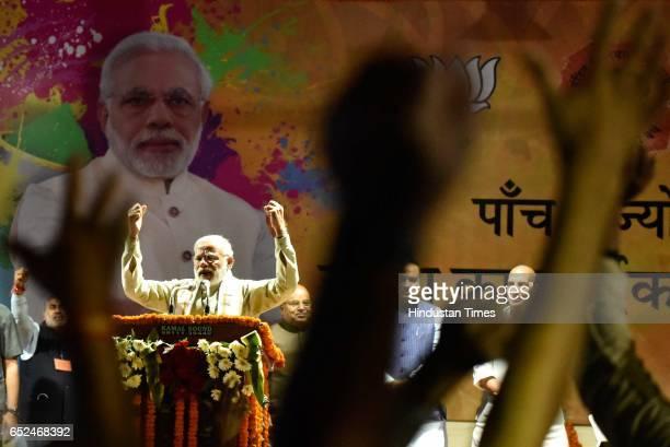 Prime Minister Narendra Modi addresses during the Holi Milan celebrations at Delhi BJP Office and celebrate party landslide victory in assembly...