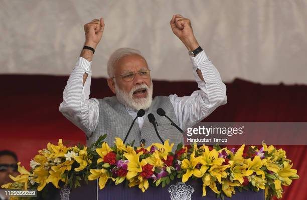 Prime Minister Narendra Modi addresses the audience after inaugurating development projects on March 9 2019 in Greater Noida India Modi again hit out...