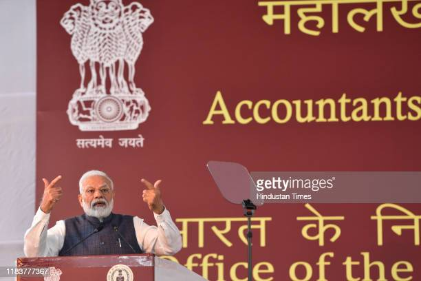 Prime Minister Narendra Modi addresses the gathering during Accountant General And Deputy Accountant General Conclave at Office of the Comptroller...