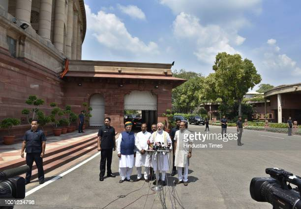 Prime Minister Narendra Modi addresses the media as Parliamentary Affairs Minister Ananth Kumar Union Minister for Development of North Eastern...