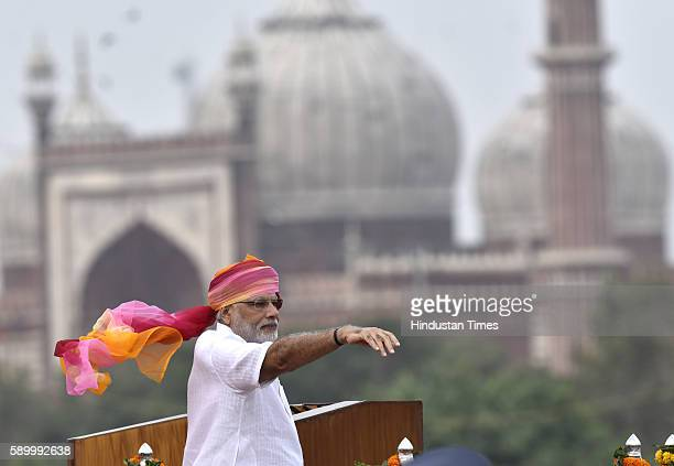 Prime Minister Narendra Modi addresses the nation during the 70th Independence Day celebration at Red Fort on August 15 2016 in New Delhi India For...