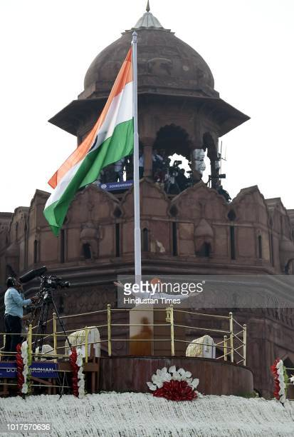 Prime Minister Narendra Modi addresses the nation from the Red Fort on the 72nd Independence Day his fifth and final speech before the general...