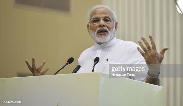 Prime Minister Narendra Modi addresses to rural achievers during the Y4D Foundation New India Conclave at Vigyan Bhavan on July 16 2018 in New Delhi...