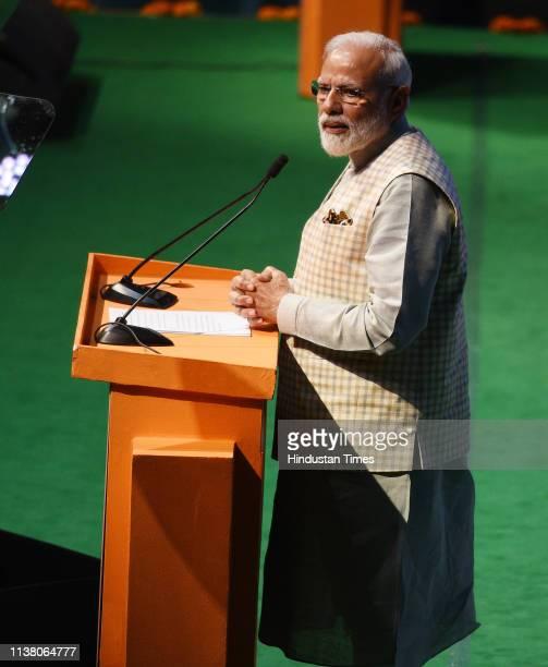Prime Minister Narendra Modi addresses 'Traders Sammelan' at Talkatora Stadium on April 19 2019 in New Delhi India Modi said the BJPled NDA...