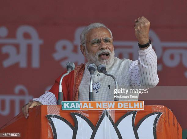 Prime Minister Narendra Modi addressing an election rally at Ambedkar Nagar for the upcoming Delhi Assembly Elections on February 4 2015 in New Delhi...