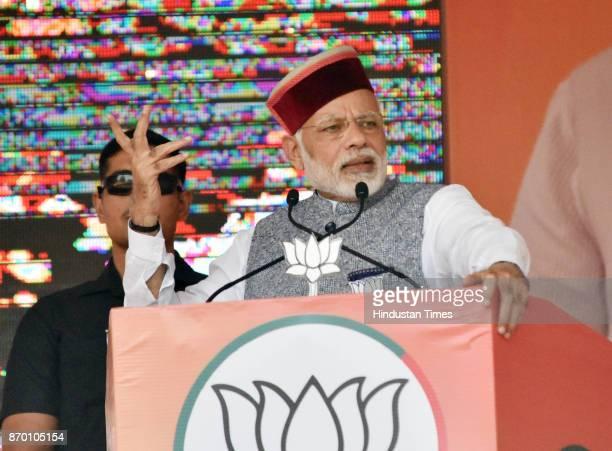 Prime Minister Narendra Modi addressing an election rally at Jwahar Park Sundernagar in Mandi district on November 4 2017 in Dharamsala India PM Modi...