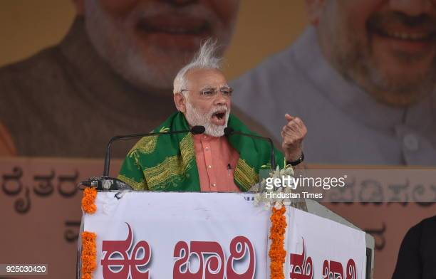 Prime Minister Narendra Modi addressing Farmer's Convention on February 27 2018 in Davangere India PM Modi's visit to the state marks the 75th...