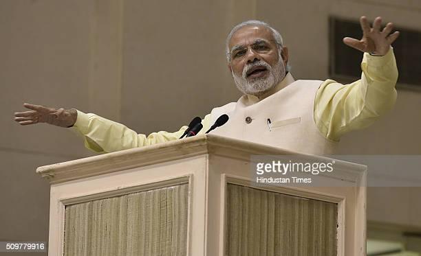 Prime Minister Narendra Modi addressing the Akhil Bharatiya Prachaarya Sammelan organized by the Vidya Bharati Akhil Bharatiya Shiksha Sansthan at...