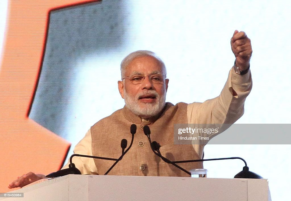 Prime Minister Narendra Modi addressing the gathering during a function at PAU on October 18 2016 in Ludhiana India