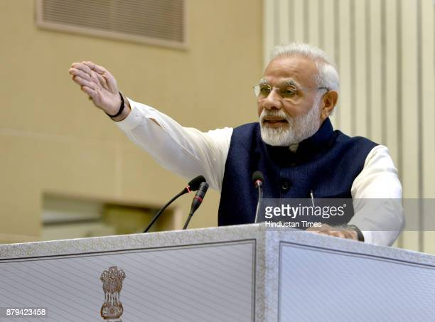 Prime Minister Narendra Modi addressing the gathering on the conference on National Law Day 2017 at Vigyan Bhawan on November 26 2017 in New Delhi...