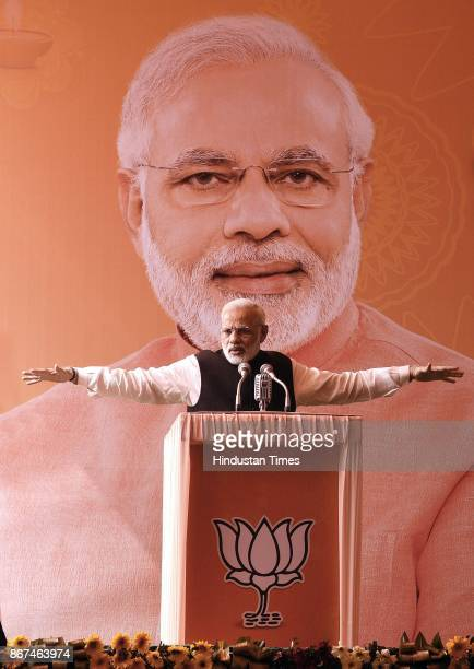 Prime Minister Narendra Modi addressing the journalists during the the Diwali Mangal Milan at BJP headquarters on October 28 2017 in New Delhi India...