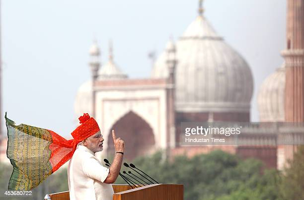 Prime Minister Narendra Modi addressing the nation on 68th Independence Day at the Red Fort on August 15 2014 in New Delhi India In first IDay speech...