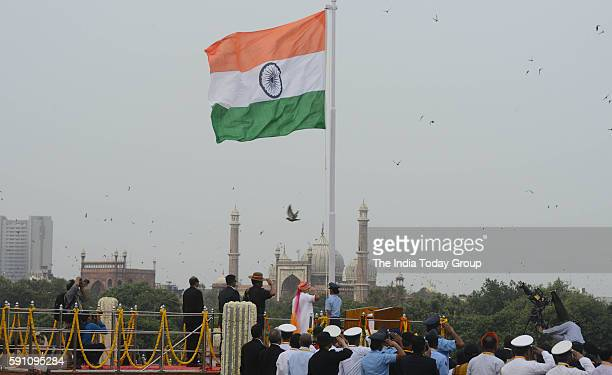 Prime Minister Narendra Modi after hoisting the national flag from the ramparts of the historic Red Fort on the occasion of the 70th Independence Day...