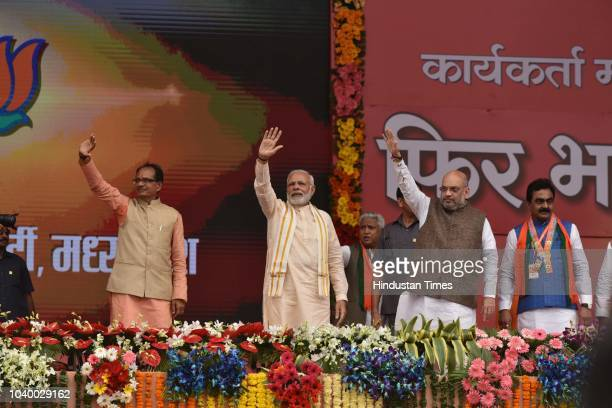 Prime Minister Narendra Modi along with BJP President Amit Shah and Madhya Pradesh Chief Minister Shivraj Singh Chouhan during the BJP party workers...