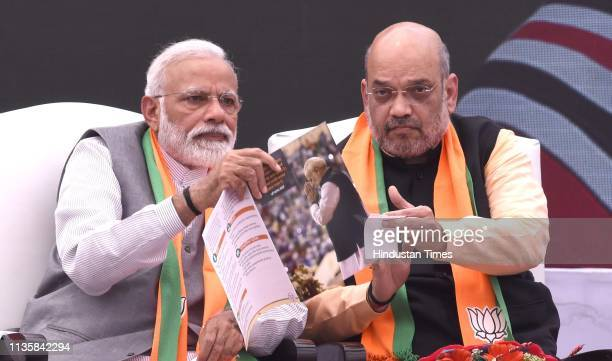 Prime Minister Narendra Modi along with BJP president Amit Shah release BJP's manifesto for the upcoming general elections at BJP headquarters on...