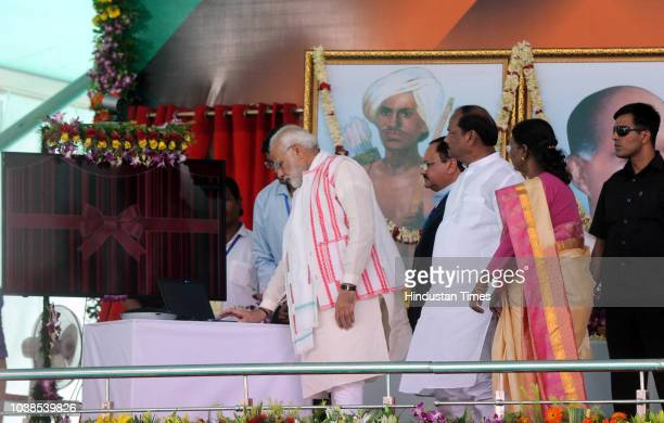 Prime Minister Narendra Modi along with state governor Draupadi Murmu Jharkhand chief minister Raghubar Das and Health Minister Jagat Prakash Nadda...
