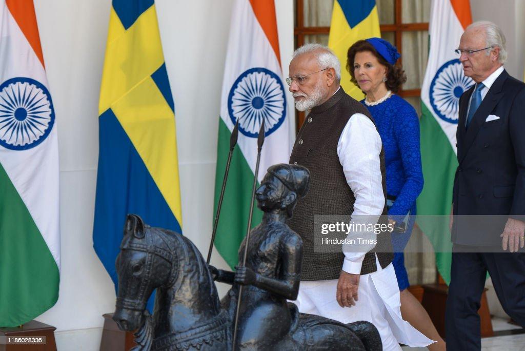 Swedish King Carl XVI Gustaf, Queen Silvia Meet Prime Minister Narendra Modi : News Photo