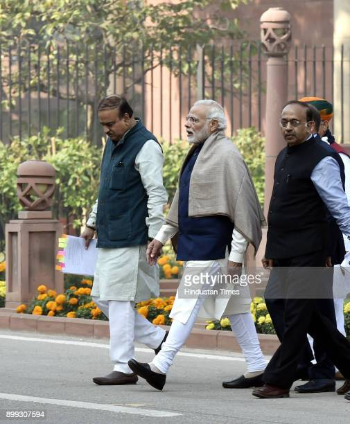 Prime Minister Narendra Modi along with Union Ministers Ananth Kumar Vijay Goel after the BJP Parliamentary Party meeting during the ongoing Winter...