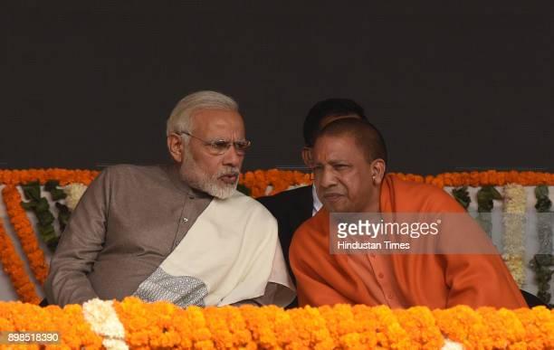 Prime Minister Narendra Modi along with Uttar Pradesh Chief Minister Adityanath Yogi inaugurate the Botanical GardenKalkaji Mandir metro line for...